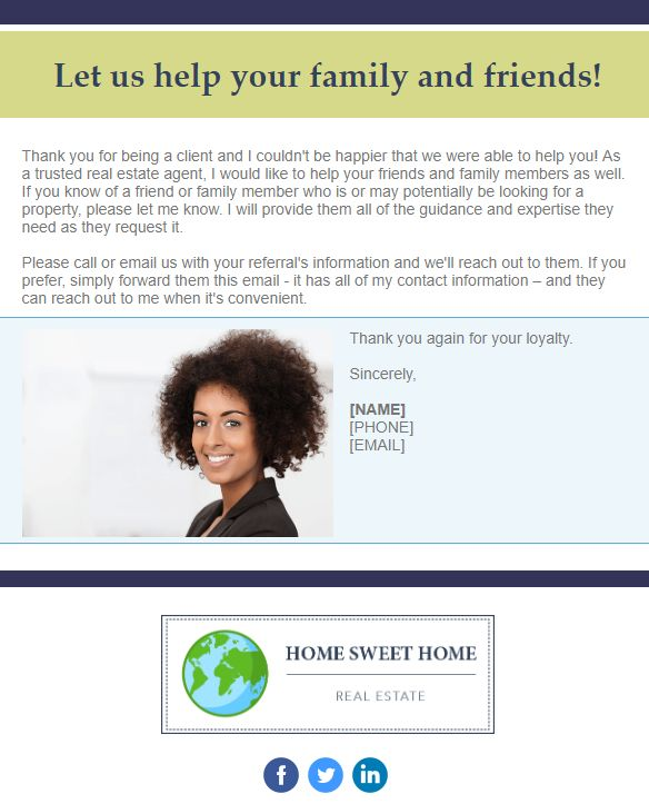 Real Estate Referral Template Example