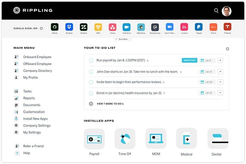 Screenshot Rippling's dashboard