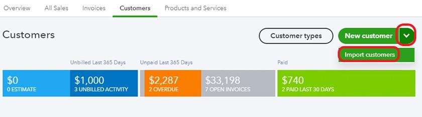 Screenshot of Select Import Customers