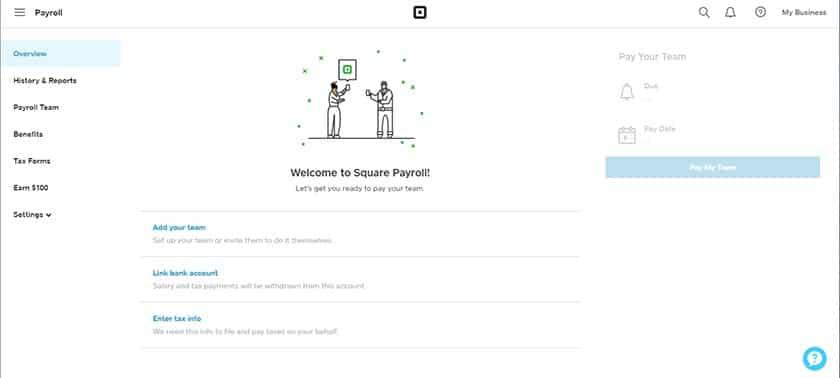 Screenshot of Square payroll main dashboard