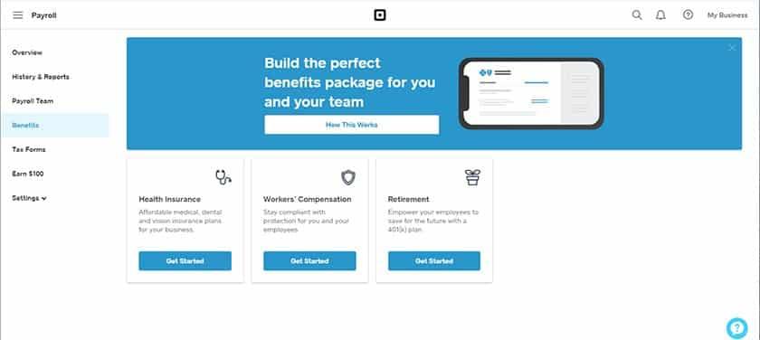 Screenshot of Square payroll paid employee benefits
