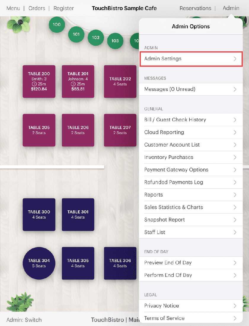 Screenshot of TouchBistro sample cafe