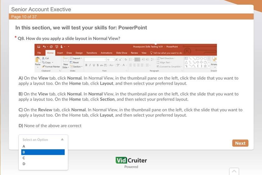 Screenshot of VidCruiter assessment dashboard