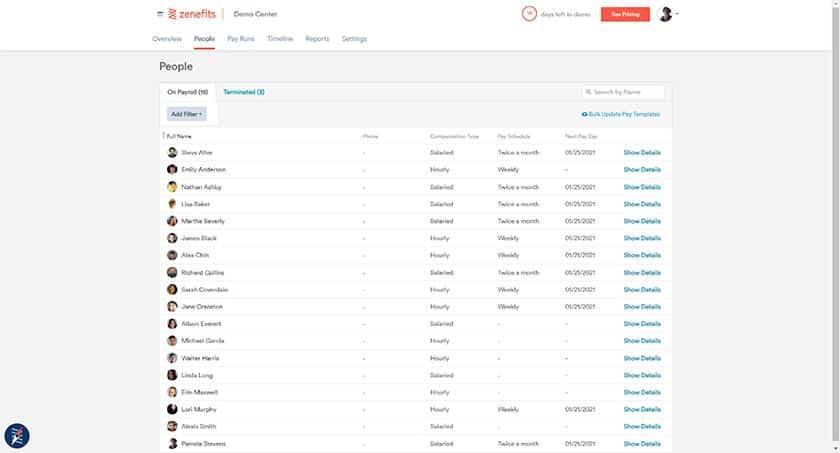 Screenshot of Zenefits People view directory