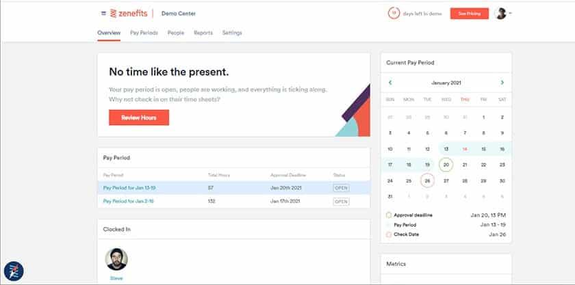 Screenshot of Zenefits pay period