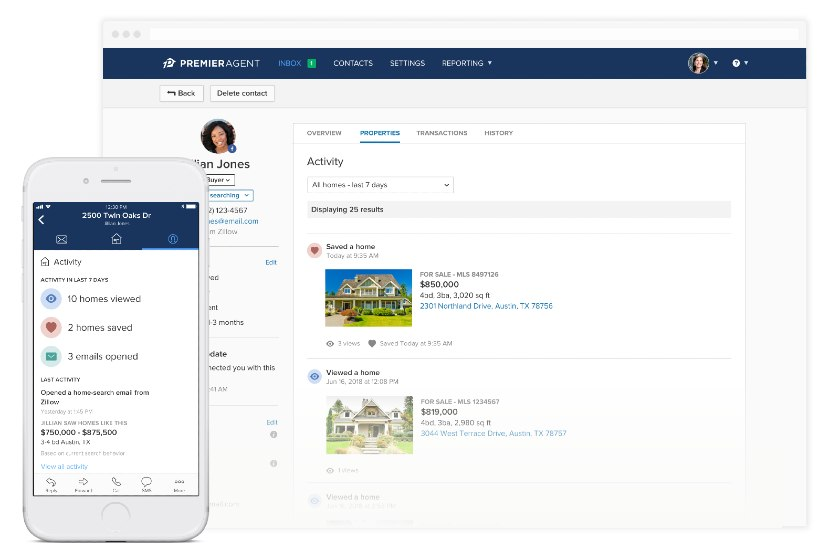 Zillow Premier Agent listing and lead management interface