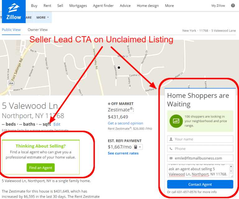 Zillow Seller Boost lead capture sample