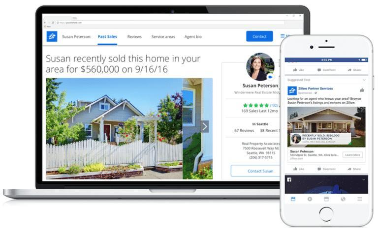 Screenshot of Zillow ads