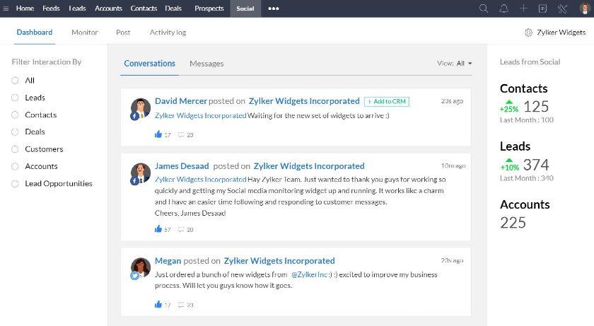 Zoho CRM social integration Dashboard
