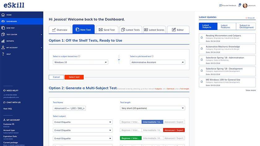 Screenshot of eSkill dashboard