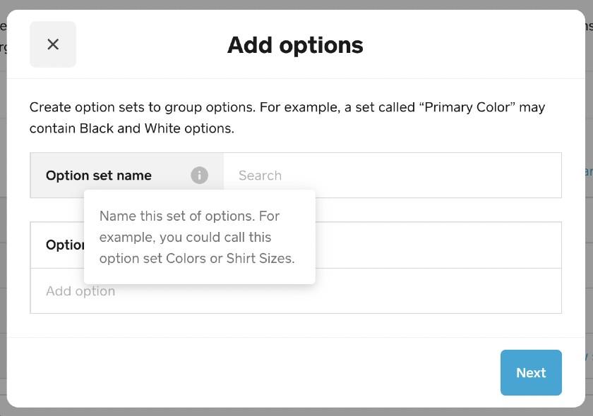 Screenshot of Adding Options