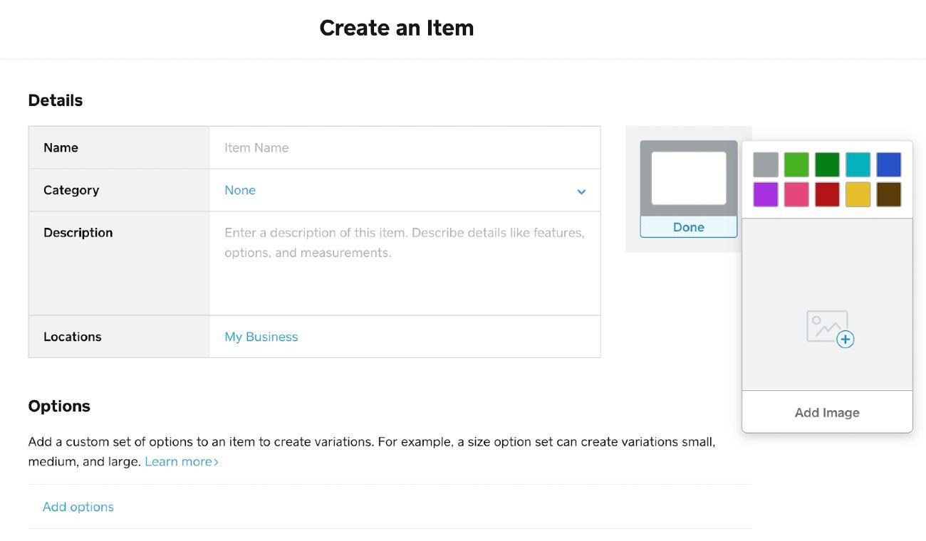 Screenshot of Creating Item Details