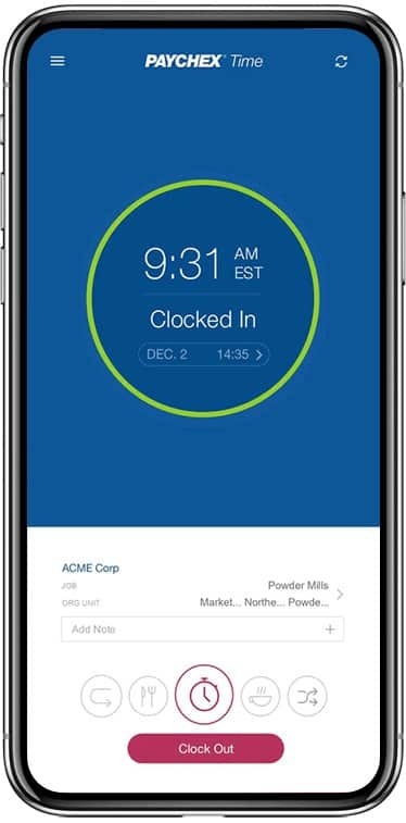 Screenshot of Employees Using Paychex Flex Mobile App Tracker