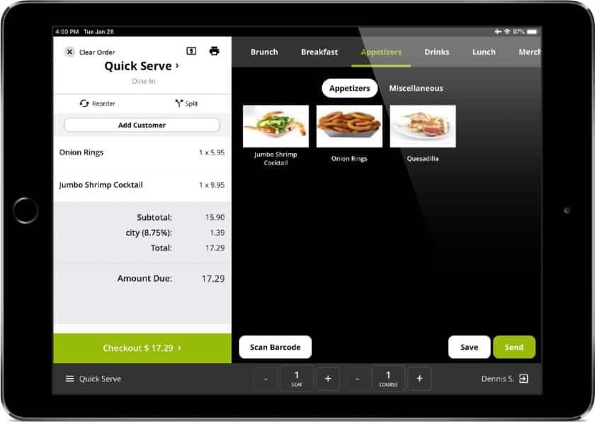 Screenshot of Lavu's Quick Order Mode