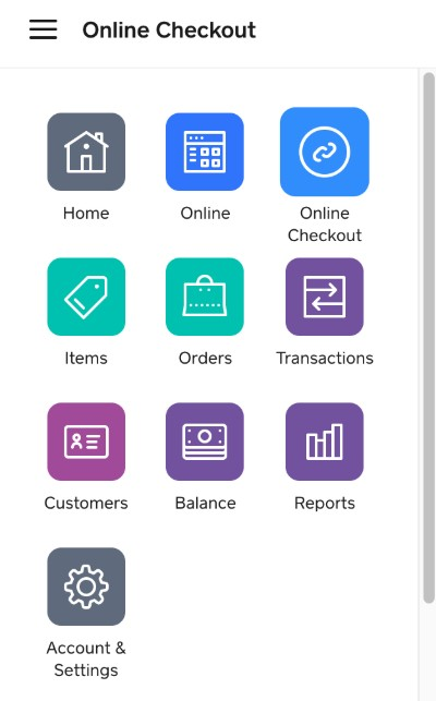 Screenshot of Online Checkout Tabs
