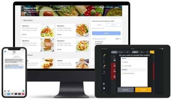 Screenshot of Upserve online ordering menu