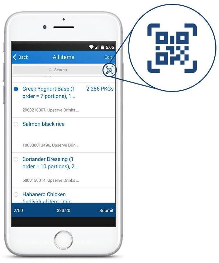 Screenshot of Upserves Barcode Scanning App