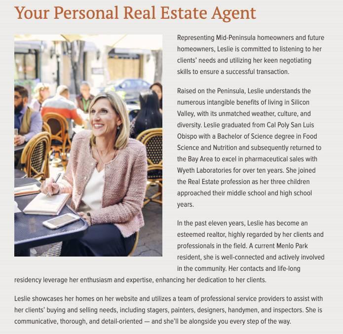 real estate bio of Leslie Woods