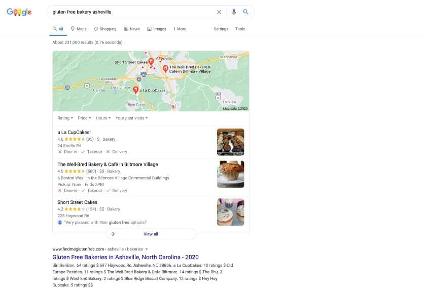 search results for gluten free bakery asheville