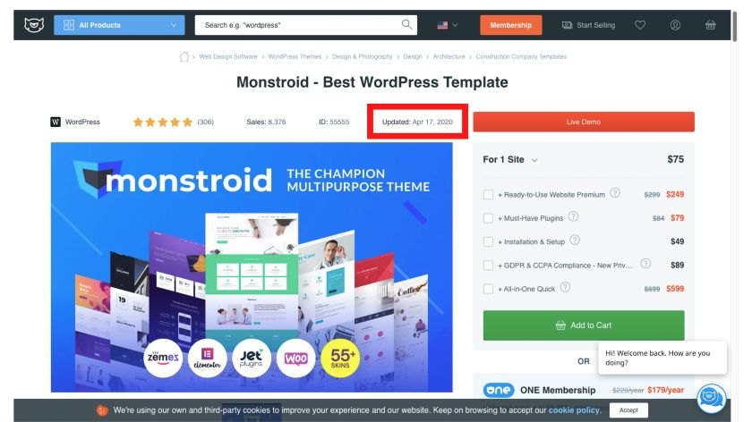update details of Monstroid Theme