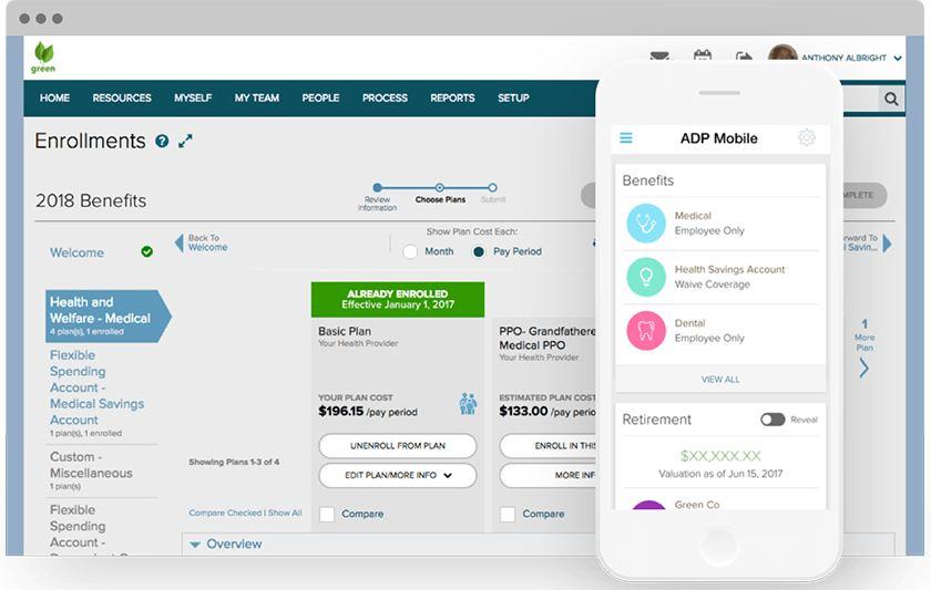 Screenshot of ADP TotalSource Benefits portal