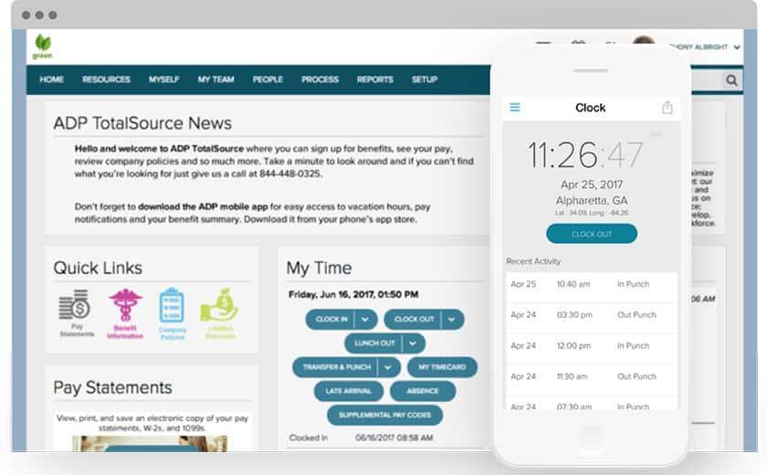 Screenshot of ADP TotalSource platforms