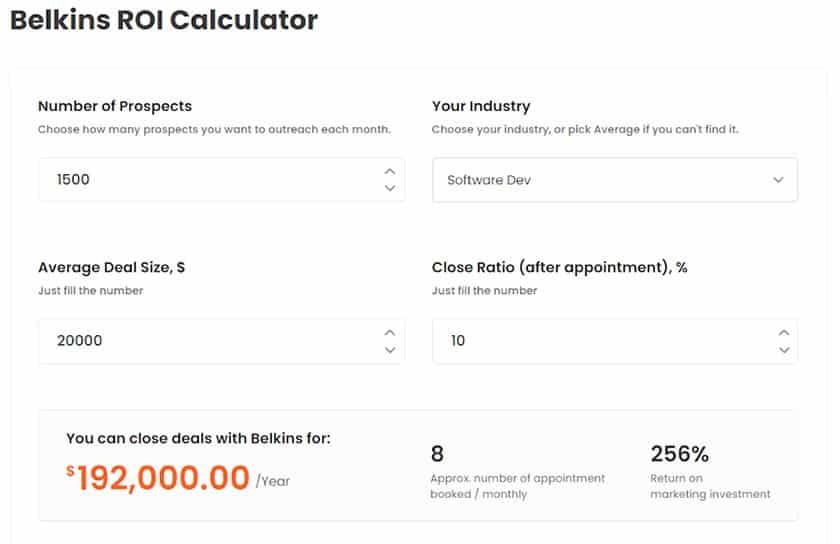 Screenshot of Belkins ROI calculator example