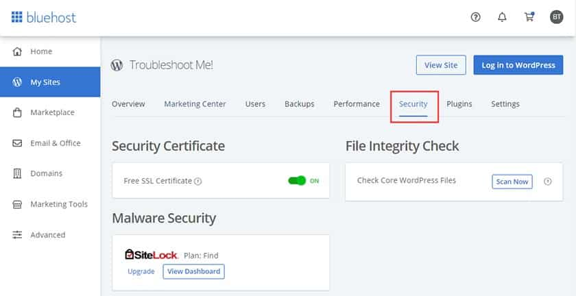 Screenshot of Bluehost activate free SSL certificates through control panel
