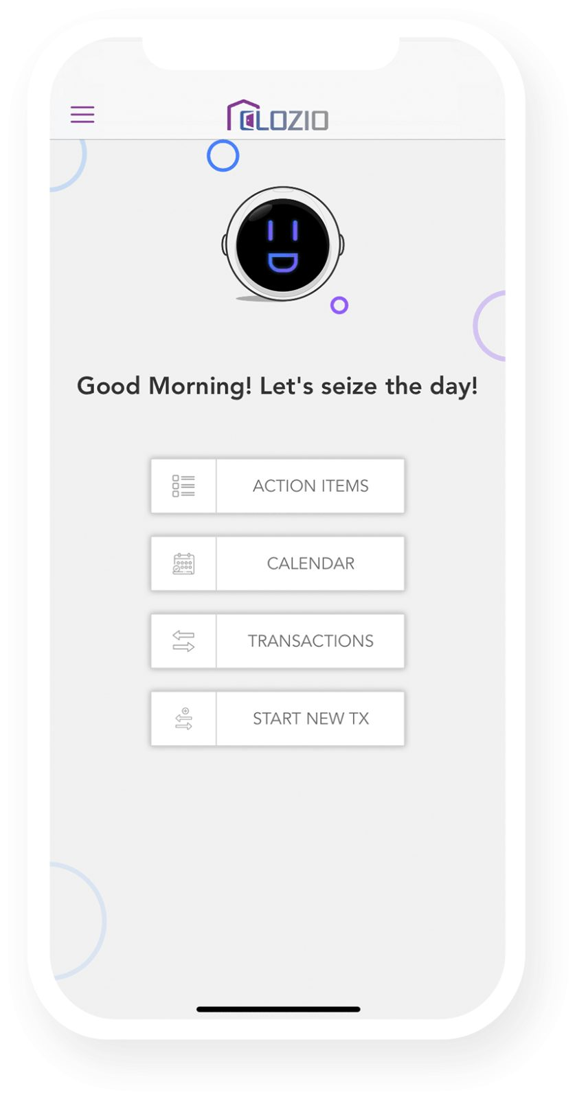 Clozio Mobile app interface