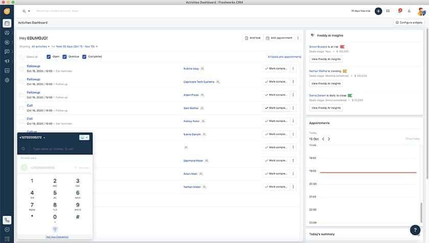 Freshworks CRM Activity Dashboard
