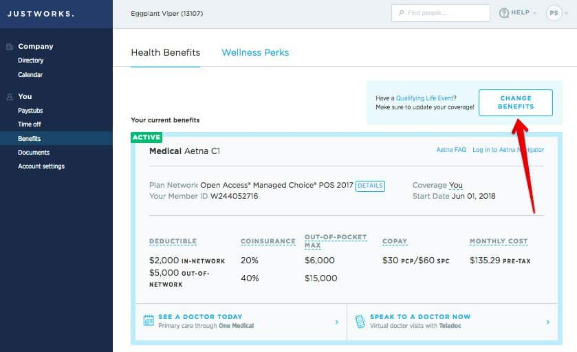 Screenshot of Justworks benefits tab dashboard