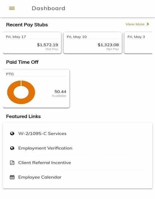 Screenshot of Oasis Recent Pay stubs
