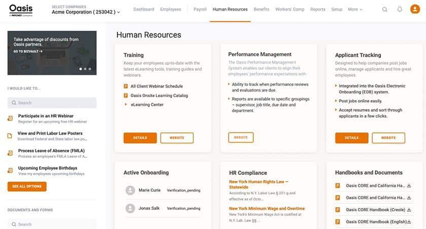 Screenshot of Oasis human resources dashboard
