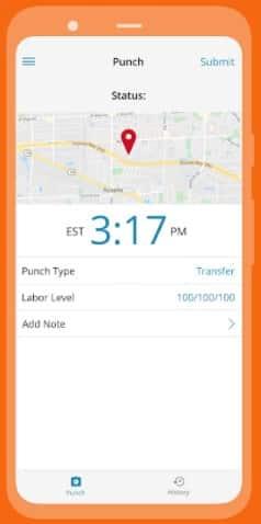 Screenshot of Paylocity clock application