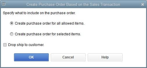 Screenshot of QuickBooks Contractor Create Purchase Order from Estimate