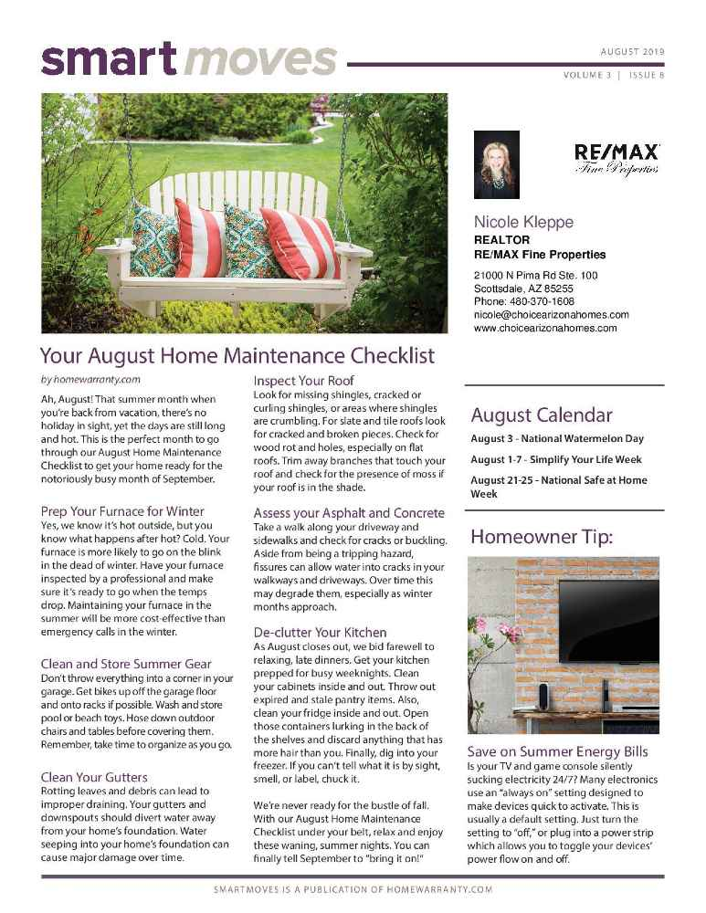 Home Maintenance Newsletters by RE/MAX Fine Properties