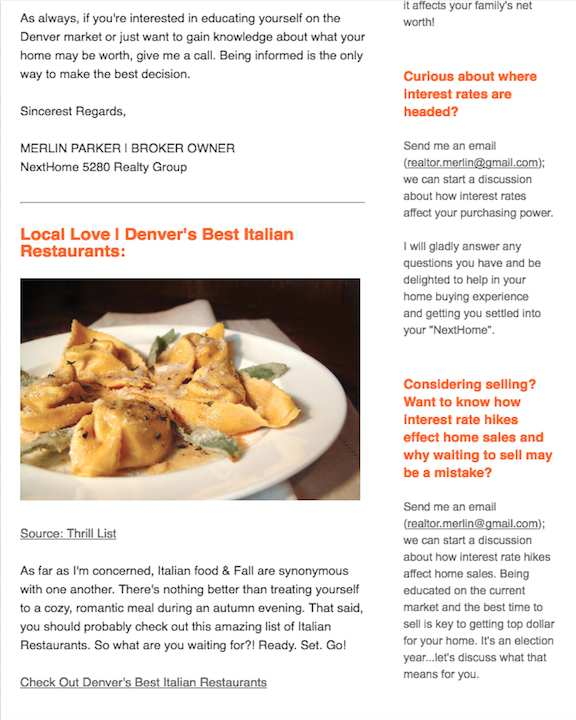 Recipe Newsletters by Real Estate Marketing Club