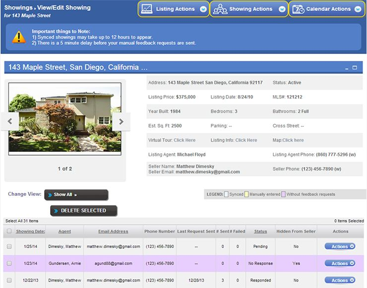 Showing Suite Appointment Management Interface