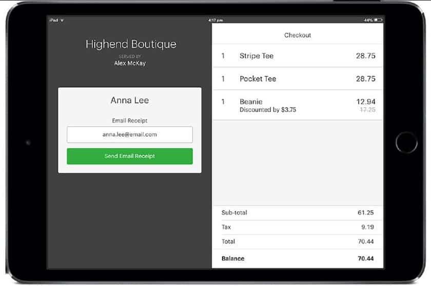 Screenshot of Vend Display sample