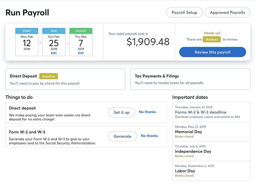 Screenshot of Wave Payroll Processing dashboard