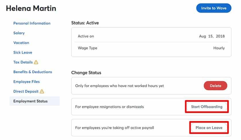 Wave Payroll employee status sample