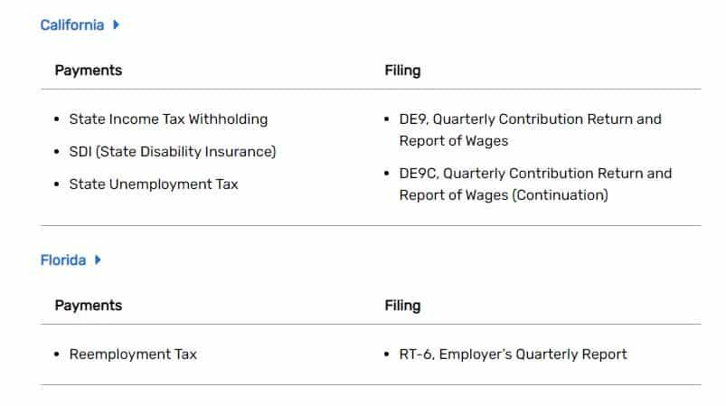 Screenshot Wave Payroll tax info by state