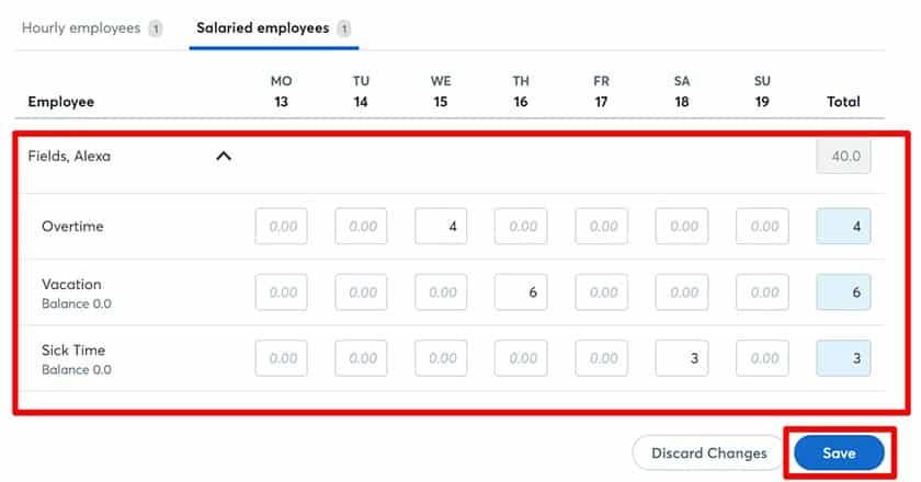 Screenshot of Wave Payroll timesheet dashboard