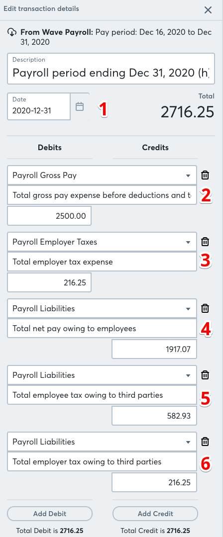 Screenshot of Wave Payroll transaction detail