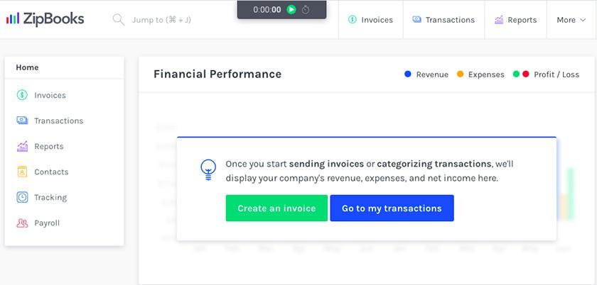 Screenshot of ZipBooks' Dashboard