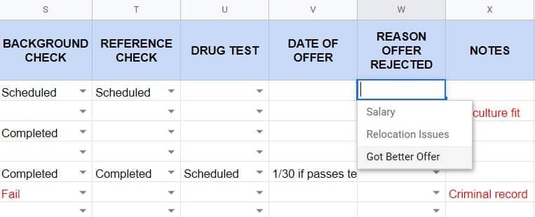 Screenshot of HR Applicant Tracker Reason Offer Rejected Column