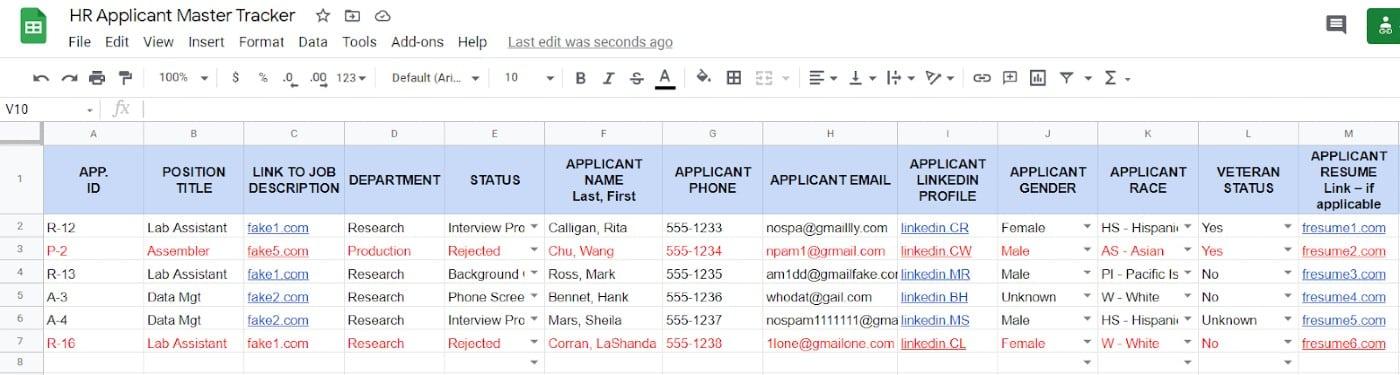 Screenshot of HR Applicant Tracker Sample