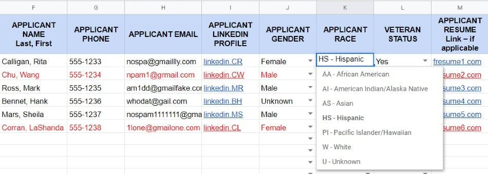 Screenshot of HR Applicant Tracker Sample Applicant Race Column