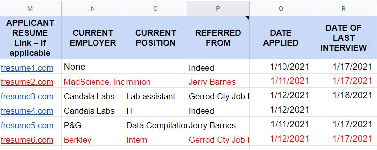 Screenshot of HR Applicant Tracker Sample Referred From Highlighted Column