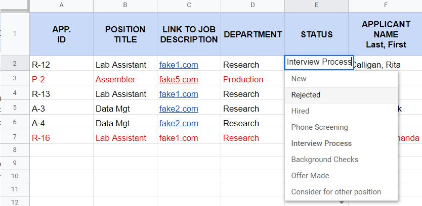 Screenshot of HR Applicant Tracker Sample Status Column